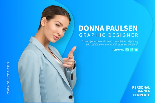 Personal banner with modern background Free Vector