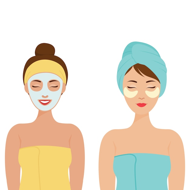 Personal care at home. woman with a towel on her head and cosmetic patches under her eyes. woman with a cosmetic mask on her face. Premium Vector
