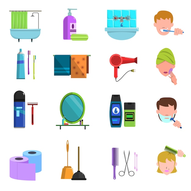 Набор плоских иконок продуктов личной гигиены Бесплатные векторы