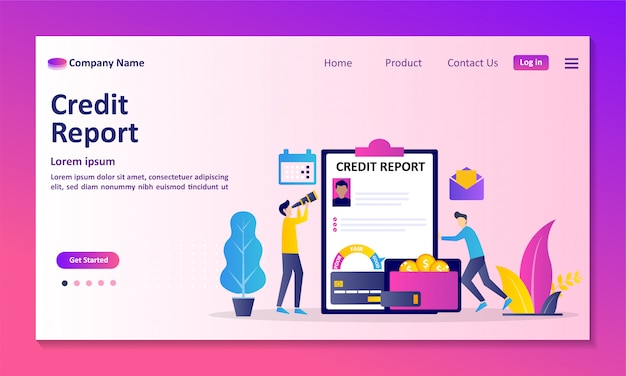 Personal credit score information and financial rating landing page Premium Vector