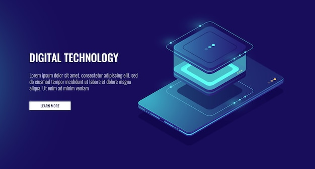 Personal data information storage, smartphone with database icon, accounting of data Free Vector