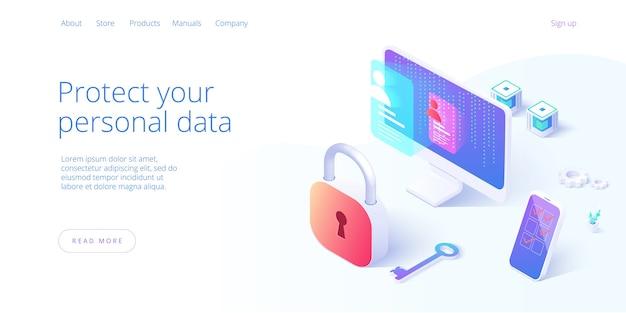 Personal data security in isometric illustration Premium Vector