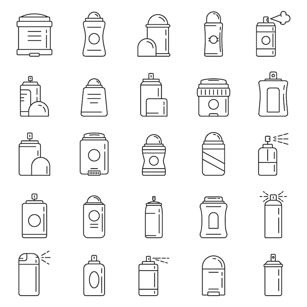 Personal deodorant icons set, outline style Premium Vector