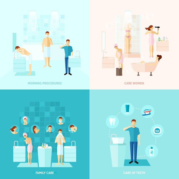 Personal and family care icons set Free Vector