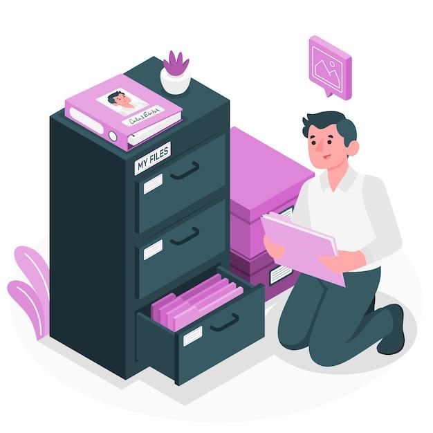 個人ファイルの概念図 無料ベクター