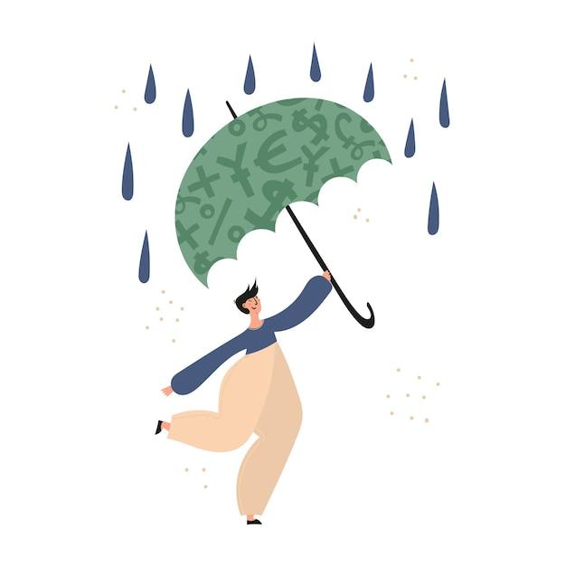 個人金融、お金の節約、緊急支援基金、保険 Premiumベクター