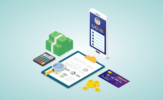 Personal finance with biodata profile analysis report with some financial data with  isometric Premium Vector
