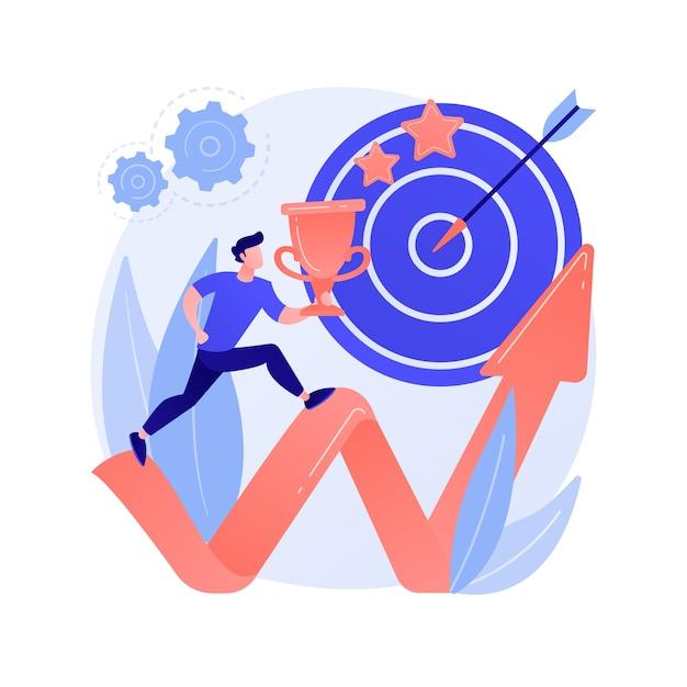 개인적 성장 동기. 직업 야망, 적극적인 사고 방식, 목표 설정. 높은 업적을 계획하고 리더십 기술을 향상시키는 사람. 무료 벡터