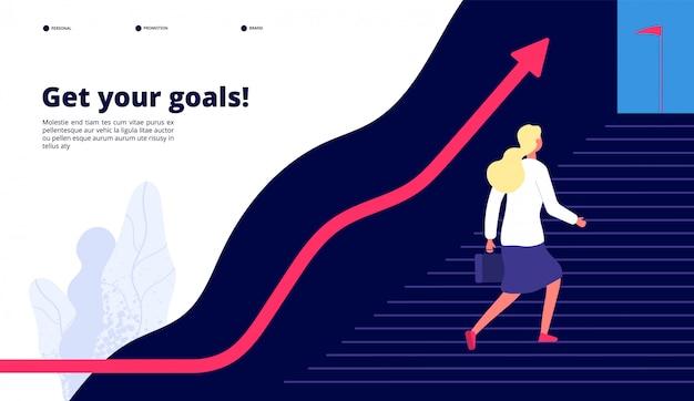 個人的成長。成功へのステップを歩いている女性は、あなたの仕事を目標に引き上げます。プロのキャリアビジネスコンセプト Premiumベクター