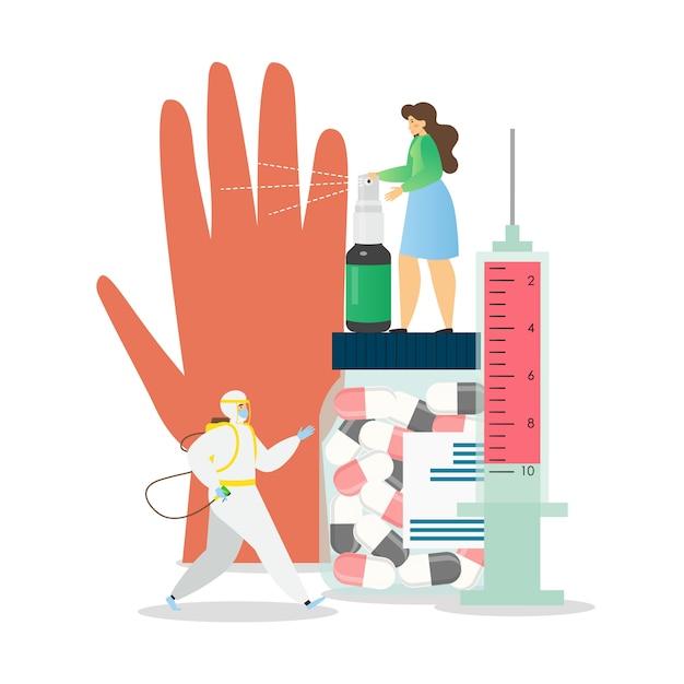 Личная гигиена и дезинфекция, меры профилактики коронавируса, плоская  иллюстрация | Премиум векторы