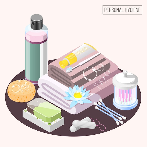Personal hygiene elements collection Free Vector