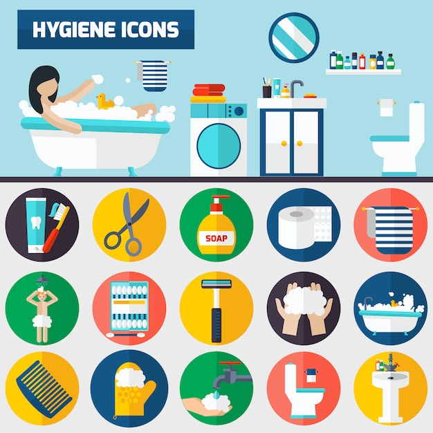 Personal hygiene flat icons composition banners Free Vector