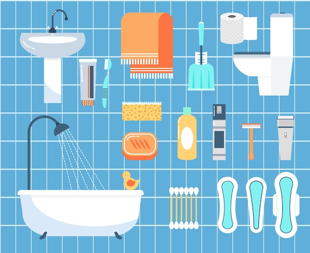 Personal hygiene flat  icons set. ear stick, razor and brush, napkin and bathroom Free Vector