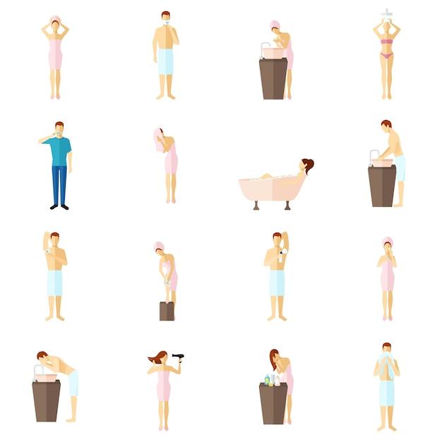 Набор плоских иконок личной гигиены Бесплатные векторы