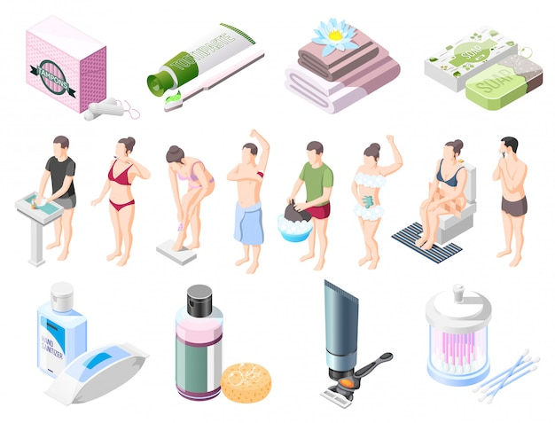 Personal hygiene isometric element collection Free Vector