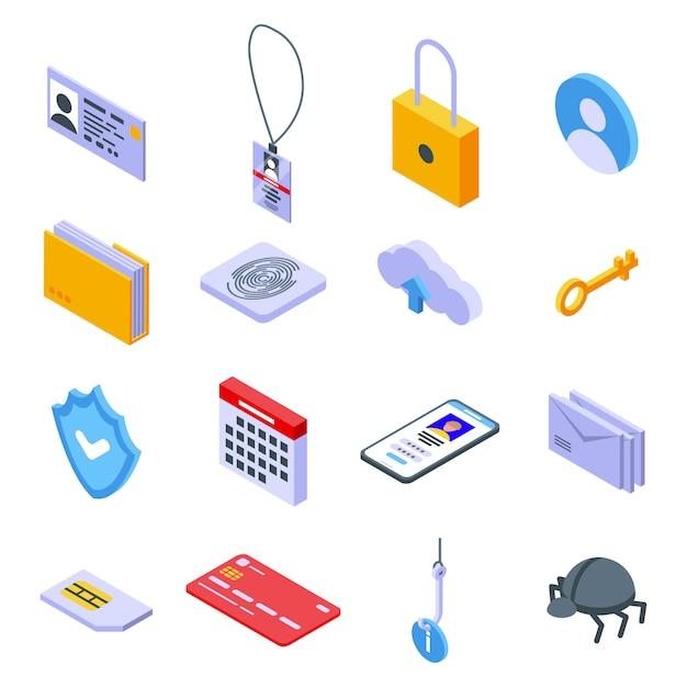 個人情報のアイコンセット、アイソメ図スタイル Premiumベクター