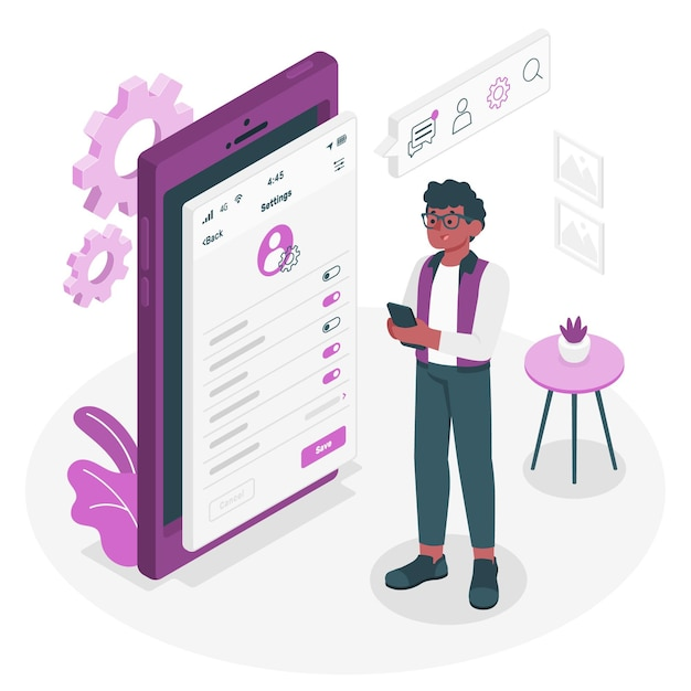 Personal settings concept illustration Free Vector
