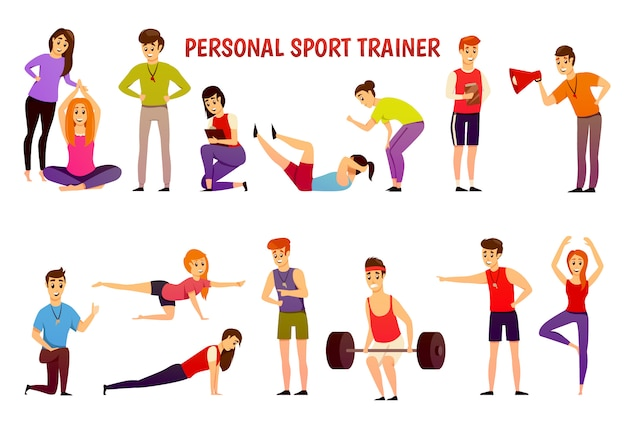 Icone ortogonali di personal sport trainer Vettore gratuito