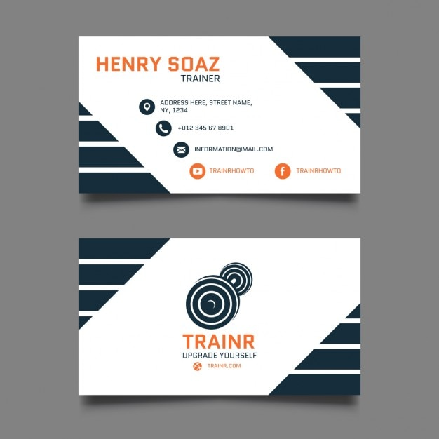 personal trainer business card vector free download