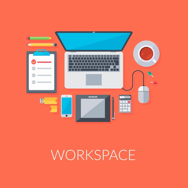 Personal workspace organization Free Vector