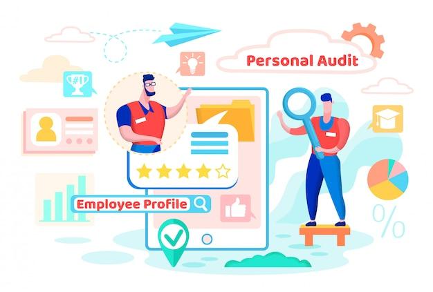 Personeel audit, employee profile cartoon flat. Premium Vector