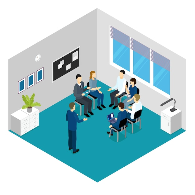 Personnel training isometric concept Free Vector