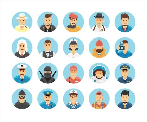 Коллекция икон лиц. набор иконок, иллюстрирующих занятия людей, образ жизни, нации и культуры. Premium векторы