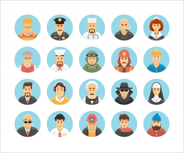 Persons icons collection. icons set illustrating people occupations, lifestyles, nations and cultures. Premium Vector