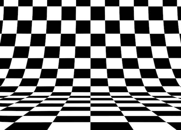Perspective checkered square background. Premium Vector