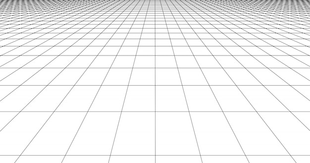 Perspective grid floor tile. detailed lines on white background. Premium Vector