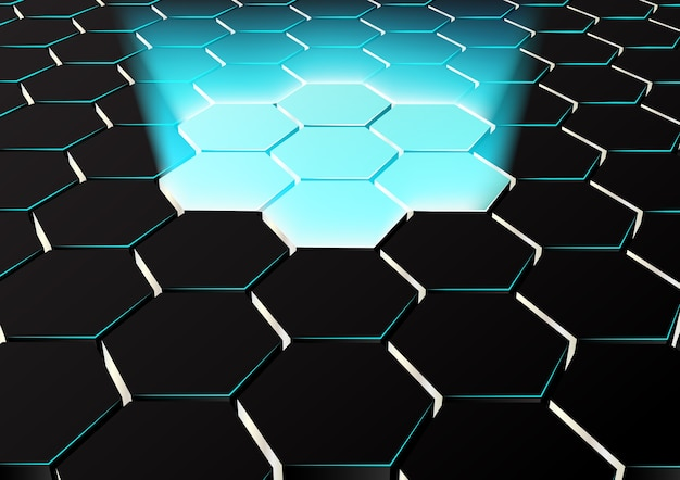 Perspective hexagonal background with blue lights up Premium Vector