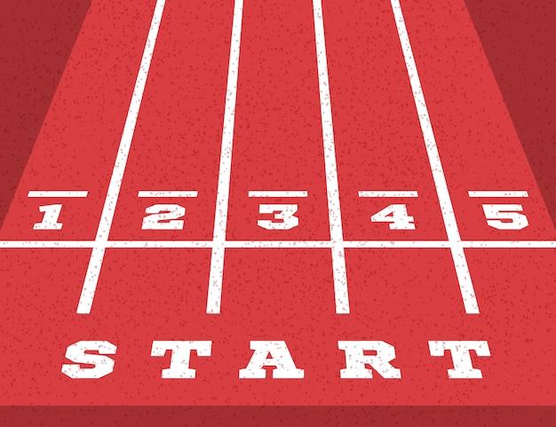 Perspective start on the go-kart running track. road markings Premium Vector