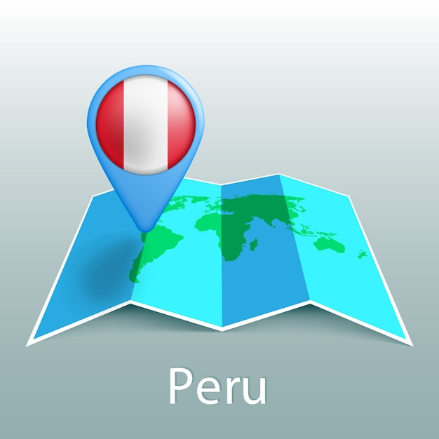 Peru flag world map in pin with name of country on gray background Premium Vector
