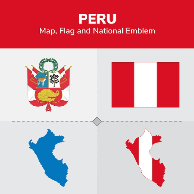 Peru map, flag and national emblem Premium Vector