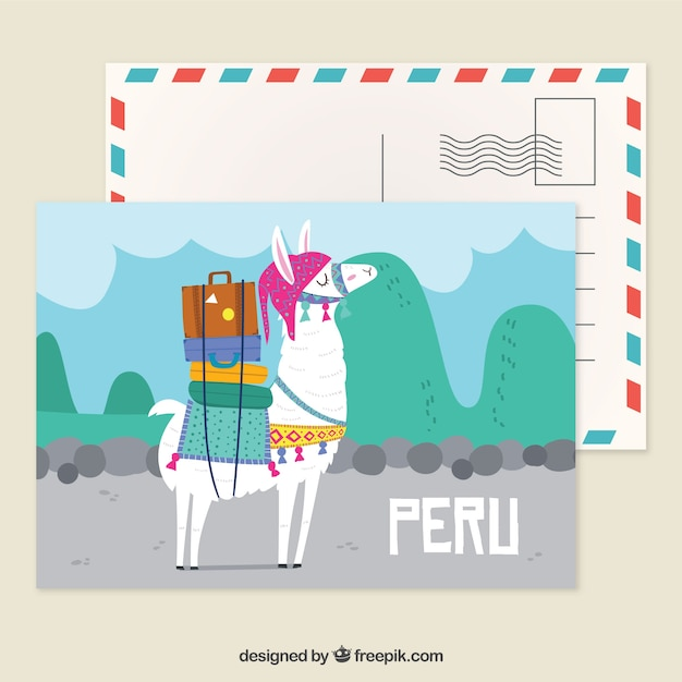 Peru postcard template with hand drawn style Free Vector