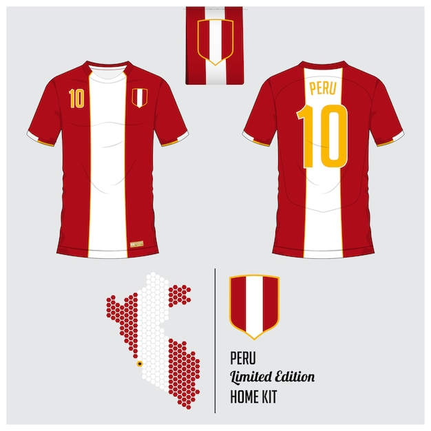 Peru soccer jersey or football kit template Premium Vector
