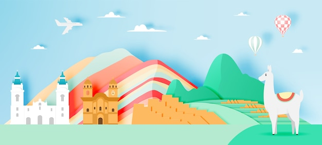Peru travel with machu picchu paper art with pastel color scheme vector illustration Premium Vector