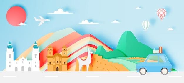 Peru travel with machu picchu paper art with pastel color scheme vector illustration Premium Vector