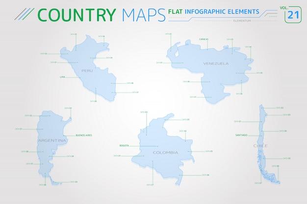 Векторные карты перу, венесуэлы, колумбии, аргентины и чили Premium векторы