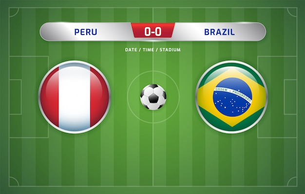 Peru vs brazil scoreboard broadcast soccer south america's tournament 2019, group a Premium Vector