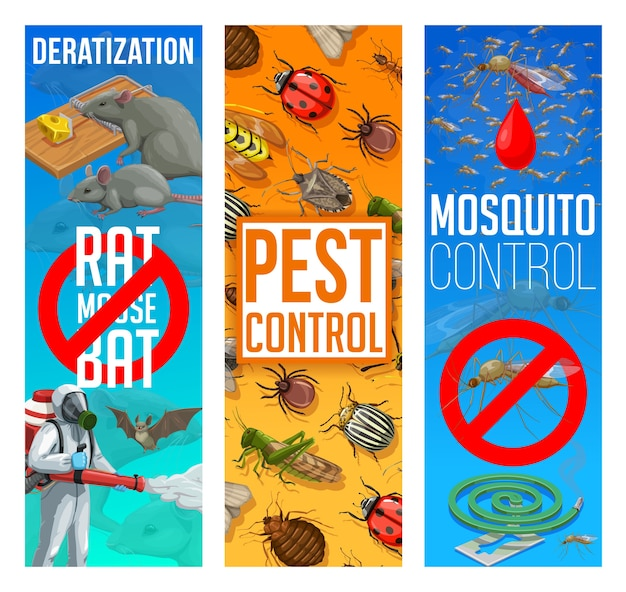 Pest control, disinfestation and deratization  banners. sanitary service, domestic pest control disinfection and fumigation of mosquito and bugs, rodents and parasites insects extermination Premium Vector