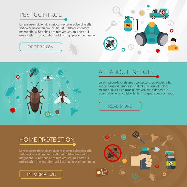 Pest control extermination 3 flat banners Free Vector