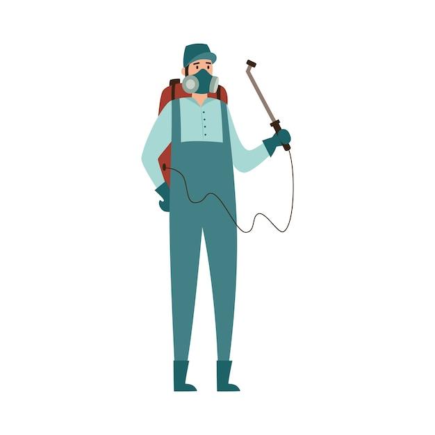 Pest control exterminator spraying toxic spray illustration Premium Vector