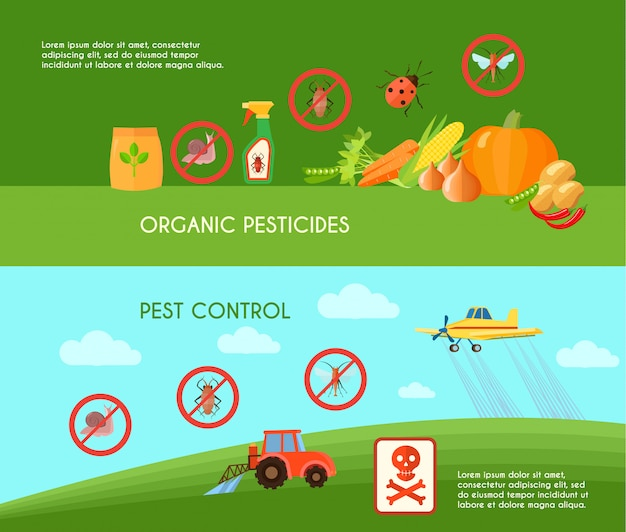Pest control horizontal banners set Free Vector