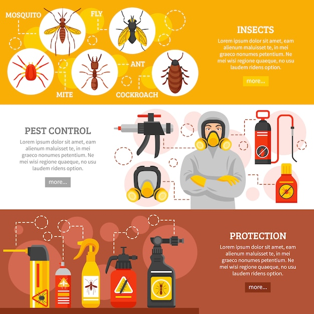 Pest control horizontal banners Free Vector
