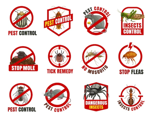 Pest control   icons. colorado beetle, cockroach and rat with locust, mole, tick and mosquito with flea. fly, mouse and spider with ant cartoon prohibition , dangerous insects warn Premium Vector