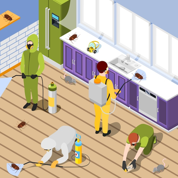 Pest control isometric background Free Vector