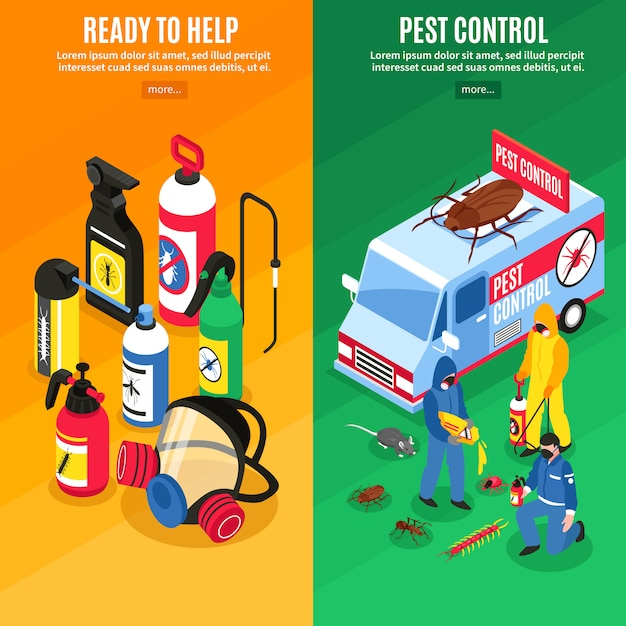 Pest control isometric vertical banners Free Vector