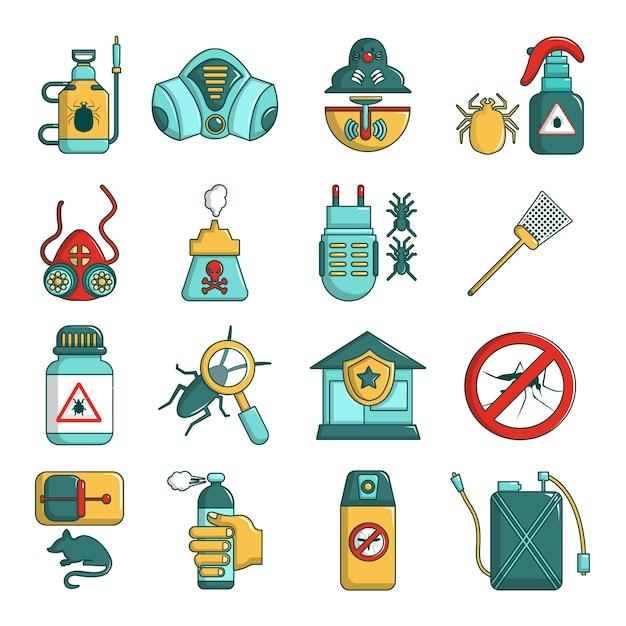 Pest control tools icons set Premium Vector