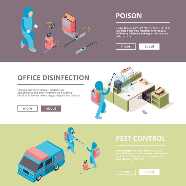 Pest. safety chemical poison desinfection service banners advertisement pictures. illustration prevention and exterminator, protective service Premium Vector